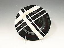 Black & White Dessert Plates with Red Accent by Jean Elton (Ceramic Dinnerware)
