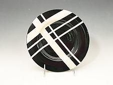 Black & White Dessert Plates with Red Accent by Jean Elton (Ceramic Dinnerware)