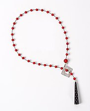 Coral Lariat with Inlaid Ebony Drop by Suzanne Linquist (Beaded Necklace)