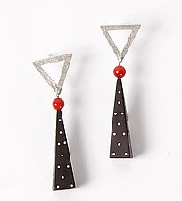 Silver and Ebony Earrings with Coral by Suzanne Linquist (Silver and Ebony Earrings)