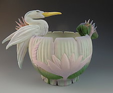Jade Heron Vessel by Nancy Y. Adams (Ceramic Bowl)