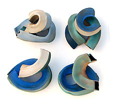 Waves Quartet by Amy Meya (Ceramic Wall Sculpture)