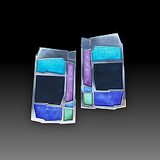 Colorblock Earrings in Multi & Night by Carly Wright (Enameled Earrings)