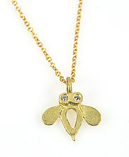 Open Bee Charm Necklace by Rebecca  Myers (Gold & Stone Necklace)
