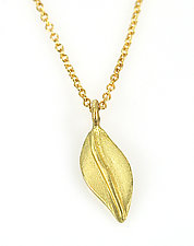 Leaf Charm Necklace by Rebecca  Myers (Gold & Stone Necklace)