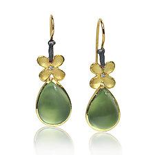 Prehnite Pear Earrings by Rebecca  Myers (Gold, Silver, & Stone Earrings)