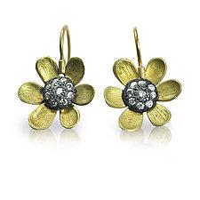 Black-Eyed Susan Earrings by Rebecca  Myers (Gold, Silver, & Stone Earrings)