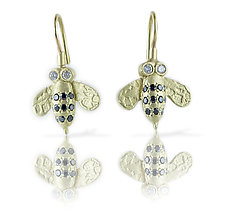 Small Bee Earrings in 18k Yellow Gold by Rebecca  Myers (Gold & Stone Earrings)