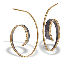 Cyclone Hoop by Elizabeth Garvin (Gold, Silver & Stone Earrings)
