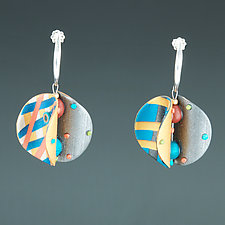 Wings Round Teal Orange by Arden Bardol (Polymer Clay Earrings)