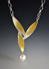 Falling Feathers Necklace by Judith Neugebauer (Gold, Silver & Pearl Necklace)