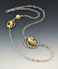 Nesting Leaves Necklace by Judith Neugebauer (Gold, Silver & Pearl Necklace)