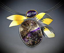 Lilac Leaf Necklace by Judith Neugebauer (Gold, Silver & Stone Necklace)
