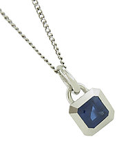 Elemental Pendant with Blue Sapphire by Catherine Iskiw (Palladium & Stone Necklace)