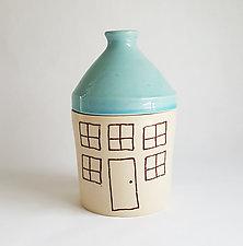 Medium Porcelain Canister with House Design by Heidi Fahrenbacher (Ceramic Jar)