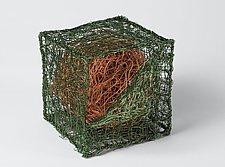 Cube with Globe by Nancy Koenigsberg (Metal Sculpture)