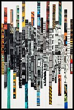 Patchwork City 65 by Marilyn Henrion (Fiber Wall Art)