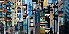 Patchwork City17 by Marilyn Henrion (Fiber Wall Art)