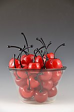 Life is a Bowl of Cherries II by Donald  Carlson (Art Glass Sculpture)
