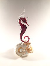 Red Seahorse by Jennifer Caldwell (Art Glass Sculpture)