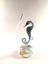 Aqua Seahorse by Jennifer Caldwell (Art Glass Sculpture)