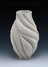 Coral Textures Wave Vase by Judi Tavill (Ceramic Vessel)