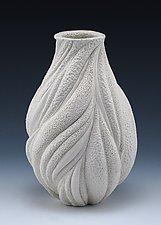 Fine Lines Textural Wave Vase by Judi Tavill (Ceramic Vase)