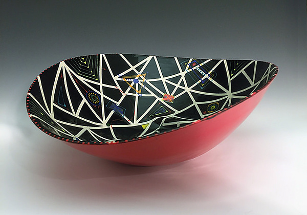 Black and Red Elliptical Bowl with Stripes