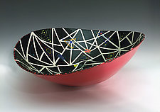 Black and Red Elliptical Bowl with Stripes by Jean Elton (Ceramic Bowl)