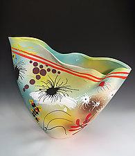 Folded Tall Vase on Yellow & Blue by Jean Elton (Ceramic Vase)