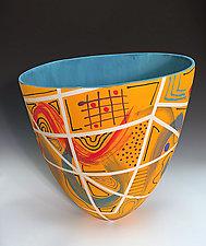 Medium Sized Orange Tall Vase with Stripes by Jean Elton (Ceramic Vase)