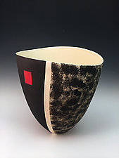 Elliptical Patterned Tall Vase Black with Red Accent by Jean Elton (Ceramic Vase)