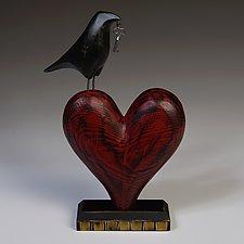 Raven on Heart Sculpture by Mark Orr (Wood Sculpture)