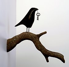 Single Raven on Branch by Mark Orr (Wood Wall Sculpture)