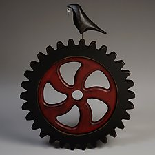 Raven on Large Gear Wall Sculpture by Mark Orr (Wood Sculpture)