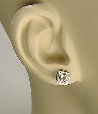 White Topaz Ice Cube Earrings by Julie Long Gallegos (Silver & Stone Earrings)