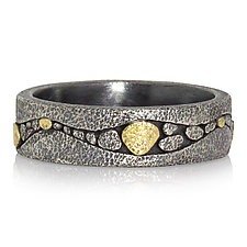 River Band in Oxidized Silver and Gold by Rona Fisher (Gold & Silver Ring)
