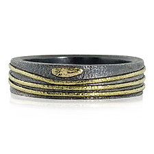 Wavy Lines and Pebbles Band by Rona Fisher (Gold & Silver Ring)