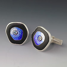 Floating Circle Cufflinks by Jennifer Park (Enameled Cuff Links)