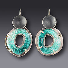 Fat Circle Earrings by Jennifer Park (Enameled Earrings)