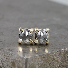 Small Rose Cut Diamond Stud Earrings by Sarah Hood (Gold & Stone Earrings)