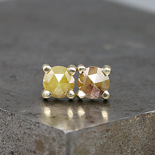 4.5mm Rose Cut Diamond Stud Earrings by Sarah Hood (Gold & Stone Earrings)