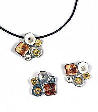 Collaged Geometrics Necklace and Earrings by Virginia Stevens (Silver Jewelry)