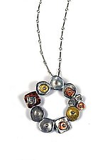 Collaged Geometric Circular Necklace by Virginia Stevens (Silver Necklace)