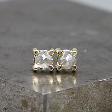 4mm Rose Cut Gray Diamond Stud Earrings by Sarah Hood (Gold & Stone Earrings)