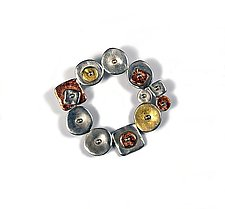 Collaged Circular Geometric Pin by Virginia Stevens (Silver Pin)