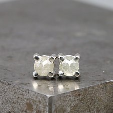 4mm Rose Cut Light Green Diamond Stud Earrings by Sarah Hood (Gold & Stone Earrings)