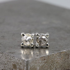 4mm Rose Cut Salt & Pepper Diamond Stud Earrings by Sarah Hood (Gold & Stone Earrings)
