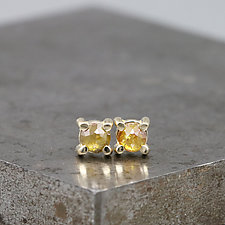 3.5mm Rose Cut Dark Yellow  Diamond Stud Earrings by Sarah Hood (Gold & Stone Earrings)