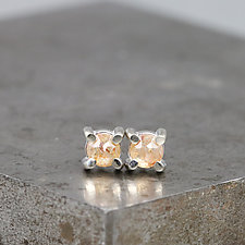3.5mm Rose Cut Pink Diamond Stud Earrings by Sarah Hood (Gold & Stone Earrings)